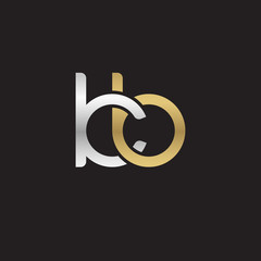 Initial lowercase letter kb, linked overlapping circle chain shape logo, silver gold colors on black background