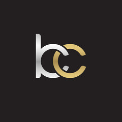 Initial lowercase letter kc, linked overlapping circle chain shape logo, silver gold colors on black background