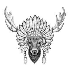 Deer Wild animal wearing indiat hat with feathers Boho style vintage engraving illustration Image for tattoo, logo, badge, emblem, poster