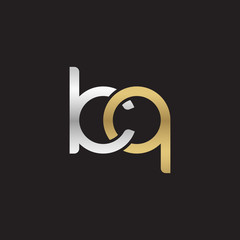 Initial lowercase letter kq, linked overlapping circle chain shape logo, silver gold colors on black background