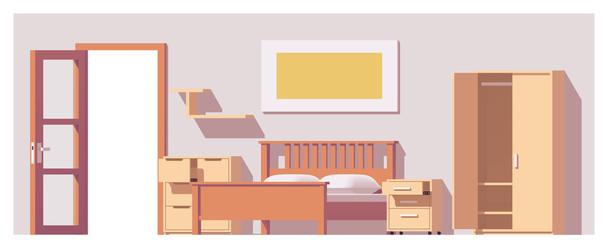 Vector low poly bedroom