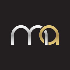 Initial lowercase letter ma, linked overlapping circle chain shape logo, silver gold colors on black background