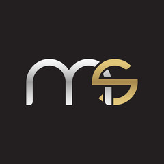 Initial lowercase letter ms, linked overlapping circle chain shape logo, silver gold colors on black background