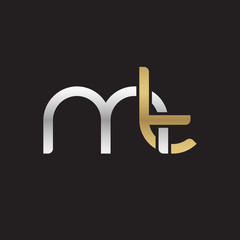 Initial lowercase letter mt, linked overlapping circle chain shape logo, silver gold colors on black background