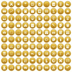 100 school icons set gold