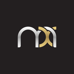 Initial lowercase letter mx, linked overlapping circle chain shape logo, silver gold colors on black background