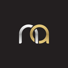 Initial lowercase letter na, linked overlapping circle chain shape logo, silver gold colors on black background