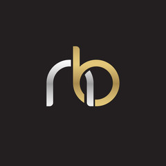 Initial lowercase letter nb, linked overlapping circle chain shape logo, silver gold colors on black background