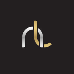 Initial lowercase letter nl, linked overlapping circle chain shape logo, silver gold colors on black background
