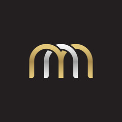 Initial lowercase letter nm, mn, linked overlapping circle chain shape logo, silver gold colors on black background