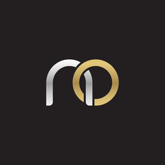 Initial lowercase letter no, linked overlapping circle chain shape logo, silver gold colors on black background