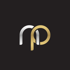 Initial lowercase letter np, linked overlapping circle chain shape logo, silver gold colors on black background