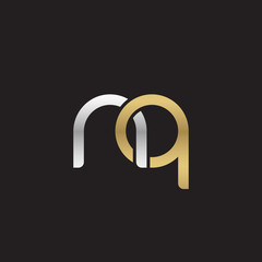 Initial lowercase letter nq, linked overlapping circle chain shape logo, silver gold colors on black background
