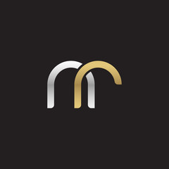 Initial lowercase letter nr, linked overlapping circle chain shape logo, silver gold colors on black background