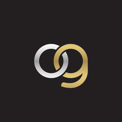 Initial lowercase letter og, linked overlapping circle chain shape logo, silver gold colors on black background