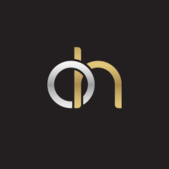 Initial lowercase letter oh, linked overlapping circle chain shape logo, silver gold colors on black background