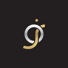 Initial lowercase letter oj, linked overlapping circle chain shape logo, silver gold colors on black background
