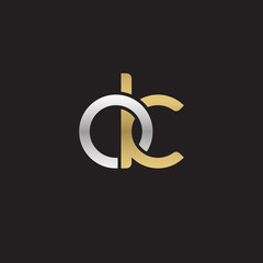 Initial lowercase letter ok, linked overlapping circle chain shape logo, silver gold colors on black background