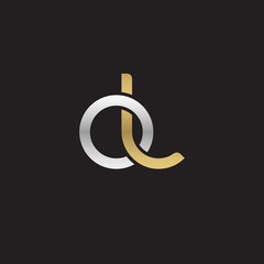 Initial lowercase letter ol, linked overlapping circle chain shape logo, silver gold colors on black background