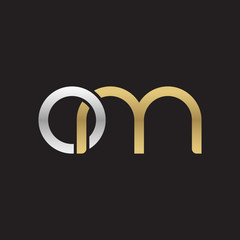 Initial lowercase letter om, linked overlapping circle chain shape logo, silver gold colors on black background