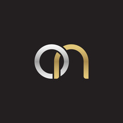 Initial lowercase letter on, linked overlapping circle chain shape logo, silver gold colors on black background