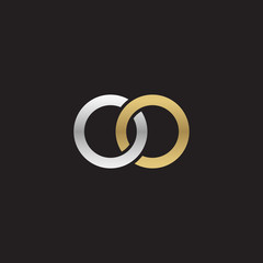 Initial lowercase letter oo, linked overlapping circle chain shape logo, silver gold colors on black background