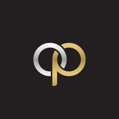 Initial lowercase letter op, linked overlapping circle chain shape logo, silver gold colors on black background