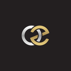 Initial lowercase letter oz, linked overlapping circle chain shape logo, silver gold colors on black background