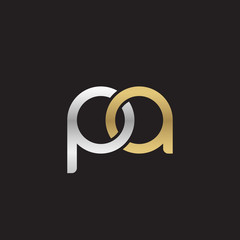 Initial lowercase letter pa, linked overlapping circle chain shape logo, silver gold colors on black background