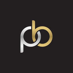 Initial lowercase letter pb, linked overlapping circle chain shape logo, silver gold colors on black background