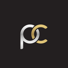 Initial lowercase letter pc, linked overlapping circle chain shape logo, silver gold colors on black background