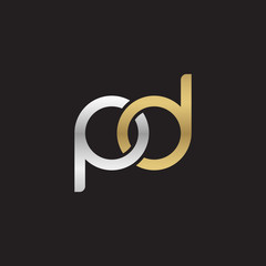 Initial lowercase letter pd, linked overlapping circle chain shape logo, silver gold colors on black background