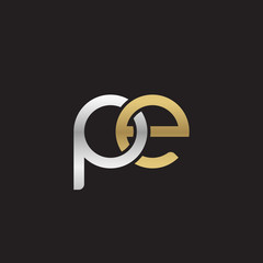 Initial lowercase letter pe, linked overlapping circle chain shape logo, silver gold colors on black background