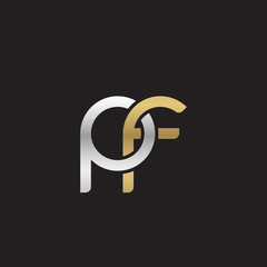 Initial lowercase letter pf, linked overlapping circle chain shape logo, silver gold colors on black background