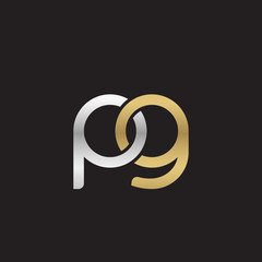 Initial lowercase letter pg, linked overlapping circle chain shape logo, silver gold colors on black background