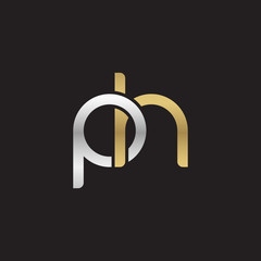 Initial lowercase letter ph, linked overlapping circle chain shape logo, silver gold colors on black background