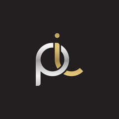 Initial lowercase letter pi, linked overlapping circle chain shape logo, silver gold colors on black background