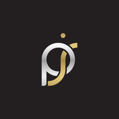 Initial lowercase letter pj, linked overlapping circle chain shape logo, silver gold colors on black background