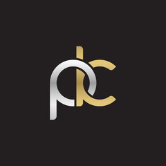 Initial lowercase letter pk, linked overlapping circle chain shape logo, silver gold colors on black background