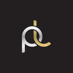 Initial lowercase letter pl, linked overlapping circle chain shape logo, silver gold colors on black background