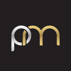 Initial lowercase letter pm, linked overlapping circle chain shape logo, silver gold colors on black background