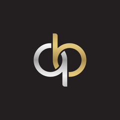 Initial lowercase letter qb, linked overlapping circle chain shape logo, silver gold colors on black background