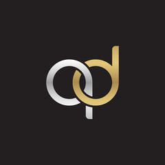 Initial lowercase letter qd, linked overlapping circle chain shape logo, silver gold colors on black background