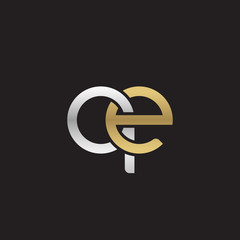 Initial lowercase letter qe, linked overlapping circle chain shape logo, silver gold colors on black background
