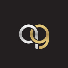 Initial lowercase letter qg, linked overlapping circle chain shape logo, silver gold colors on black background