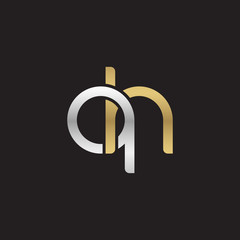 Initial lowercase letter qh, linked overlapping circle chain shape logo, silver gold colors on black background