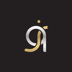 Initial lowercase letter qj, linked overlapping circle chain shape logo, silver gold colors on black background