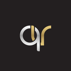 Initial lowercase letter qv, linked overlapping circle chain shape logo, silver gold colors on black background