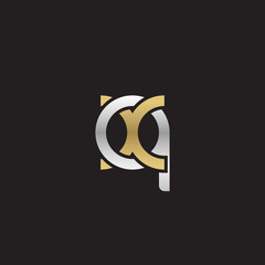 Initial lowercase letter qx, linked overlapping circle chain shape logo, silver gold colors on black background