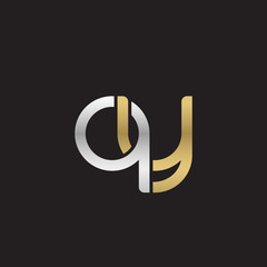 Initial lowercase letter qy, linked overlapping circle chain shape logo, silver gold colors on black background